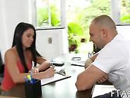 Brunette Teen Surrenders Her Arousing Figure To A Bald Stud