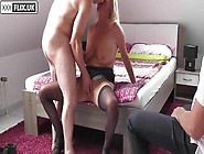 Blonde Cuckold Wife Getting Fucked Infront Of Husband - He Clean