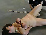 Brutally Bounded Brunette Sweetie With Tied Boobs Is Whipped Wit
