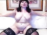 Brunette Mature Russian Busty Lady Masturbates On Webcam