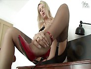 Blond Fully Fashioned Stockings Masturbating