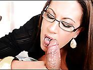 Impressively Voracious Brunette Boss In Glasses Sucks Her Worker