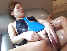 This Foxy And Stunning Asian Is Playing With His Cock