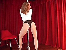 Dancing On The Stripping Pole While Being In Black Panties