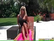 Blonde Pornstar Desiree Lopez In One Piece Swimsuit