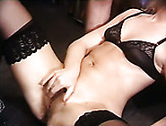 Sizzling Blonde In Sexy Lingerie And Stockings Swallows Cum And