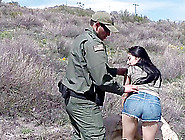 Dark Haired Latina Convinces The Border Patrol With A Blowjob