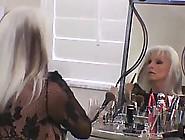 Gorgeous Blonde Mature In Black,  Sheer Dress Needs Comfort After