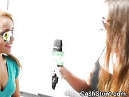 Pretty Blonde Public Finger Banging During Cash Stunt