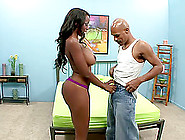 Palpitating Ebony With Big Tits And Long Hair Riding On Massive
