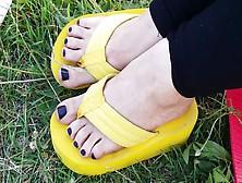 Cute Feet In Thick Foam Flip Flops