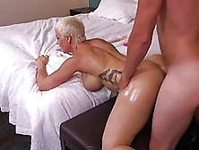 Big Titted Woman With Short,  Blonde Hair Got A Hard Dick Up Her