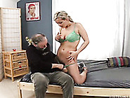 Old Fucker Helps Curvy Blondie Take Shower And Fucks Her Later