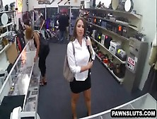 Busty Brunette Trying To Sell A Bugle At The Pawn Shop