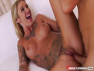 Sexy inked blonde Kleio Valentien takes a rough drilling and thick facial