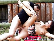 Chubby Brunette Is Having Sex With A Stranger,  In A Local Park,