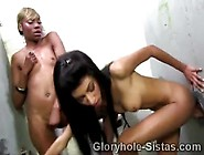 2 Sexy Sistas Share The Toilet And A Big White Cock