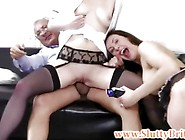 Wild Brit Babe Sucks Old Mans Cock