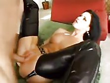 Title: Leather pants hottie gets rammed in the pussy
