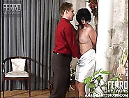 Brunette With A Big Ass Gets Groped And Fondled Through Her Nylo