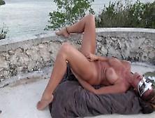 Hot Wife Masturbates On Castle Top Gushing Orgasms