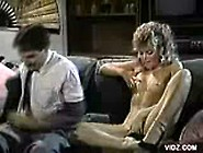 Horny Blonde Bitch Plays Fur On Couch