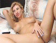 Busty Blond Girl Inserts Huge Dildo In Her White Pussy
