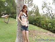Teen Stripping Outdoors While Showing Off