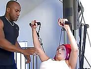 Busty Redhead Mom Raven Black Fucks A Black Stud In A Gym