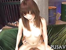 Shaved Japanese Chick Gets Fucked In A Basement Cowgirl Style