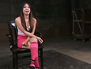 Sitting With Tied Up Legs Spread Apart Asian Chick Sucks Strong
