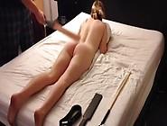 Amateur Blonde Teen Spanking Session,  Strap Cane Paddle