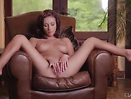 Victoria Lynn Is Playing Her Small Slit On The Leather Chair