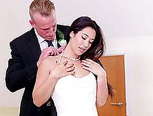 Long Hair Brunette Milf Giving Cock Blowjob Superbly