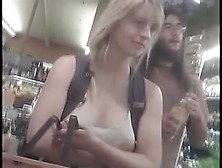 Someone Is Filming The Cleavage Of A Sexy Gal
