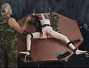 Young Soldier Girl In A Cage Is Taken Out For Torture Session On