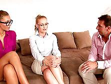 Lovely brunette gets involved into FFM threesome for some cash  412323