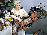 Fat German Granny In Black,  Fishnet Costume Is Getting Fucked In