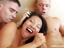 Asa Teases Then Gets Fucked In A Threesome