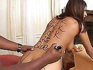 Dusty Deville Lets A Dude Write On Her Body And Sucks His Bbc