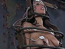 Nasty Brunette Chick In Cage Is Toyed And Electrified