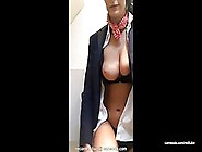 Horny Flight Attendant Is Rubbing Her Shaved Pussy And Natural T