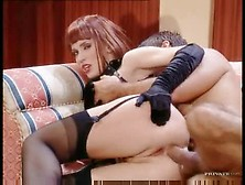 Leather Fetish Redhead Fucked In The Ass