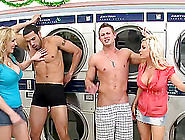 Two Hot Blondes Have A Foursome Cfnm Sex In A Laundry