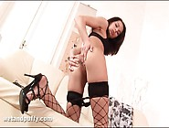 Skinny Girl In Fishnets Teases Her Hot Pussy