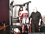Juggy Blonde Wearing Red Corset And Having Pierced Nipples Gets