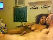 Big Boobed Ebony Girl Rides Her White Bf,  Until He Cums.