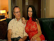 Busty Wife Enjoys A New Lover And Her Husband On The Same Night