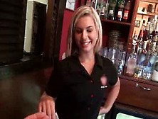 Sexy Waitress Flashing Tits And Ass For Money
