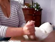 Clothed Wife Gives Handjob With Happy End